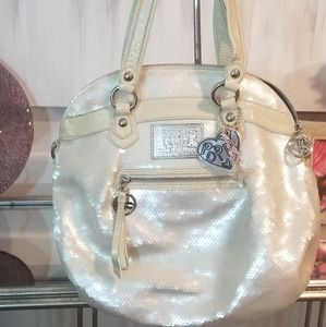 Coach Poppy Pearl White Sequined Highlight